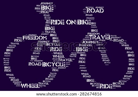 Ride on Bike - white word cloud on blue background