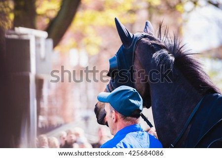 rider before horse racing circuit competition - stock photo