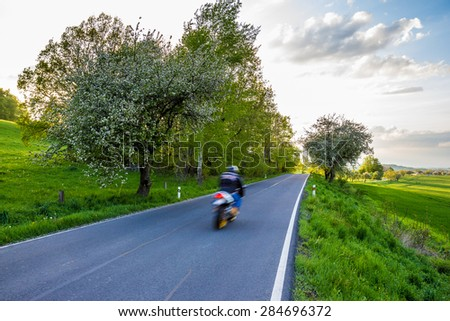 Rider in a landscape - stock photo