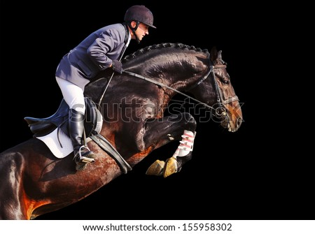 Rider on bay horse in jumping show, isolated on black - stock photo