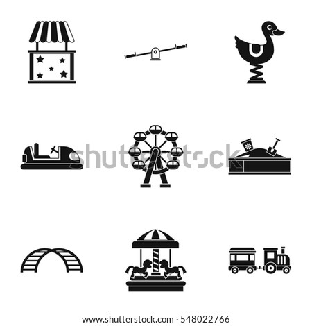 Rides icons set. Simple illustration of 9 rides  icons for web