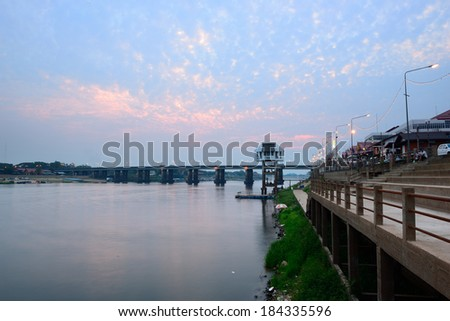 ridge across the river at night in Ubon Ratchathani, Thailand.