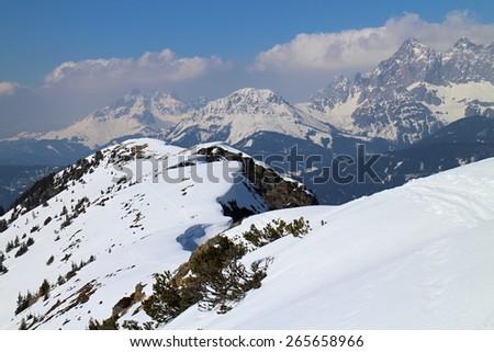 Ridge between Gasselhohe and Rippetegg peak, Austria - stock photo