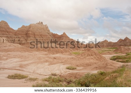 Ridge of eroded buttes in Badlands National Park, South Dakota. - stock photo