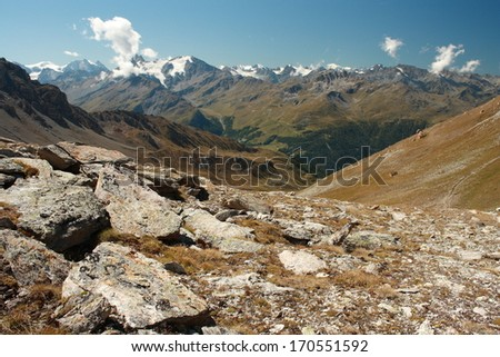 ridges and valleys in Swiss Alps - stock photo