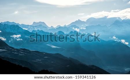 Ridges of the mountains - stock photo