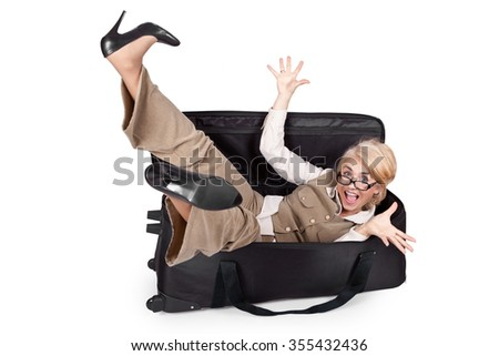 Ridiculous emotional girl in a big bag - stock photo