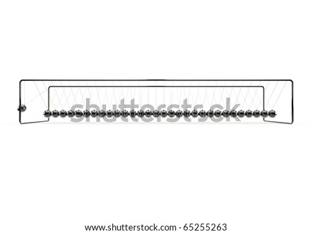 Ridiculously long newtons cradle - stock photo