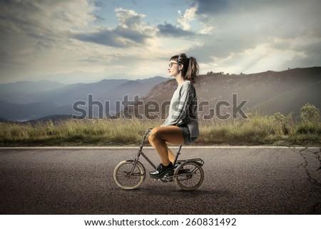 Riding a bike  - stock photo