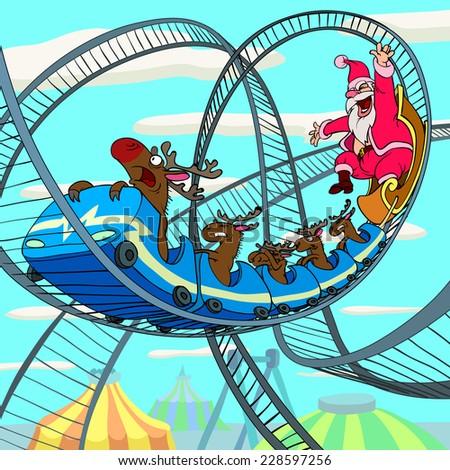 Riding Santa Claus - stock photo