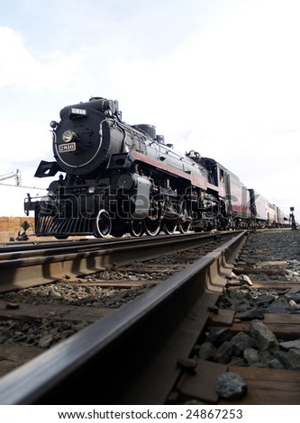 Riding the Rails Again, The Empress, a 1930 Hudson 4-6-4 oil fired steam engine arrives in Edmonton - stock photo