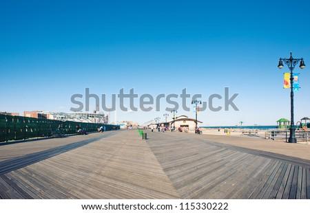 Riegelmann Boardwalk in Coney Island, NY. - stock photo