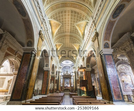 RIETI, ITALY - JULY 14, 2014: interior of the medieval duomo, in baroque style. Church built in 12th and 13th century, catholic place of worship. - stock photo