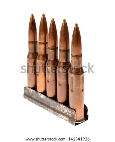 rifle ammunition isolated - stock photo