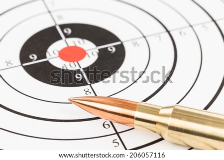 Rifle bullet over target background
