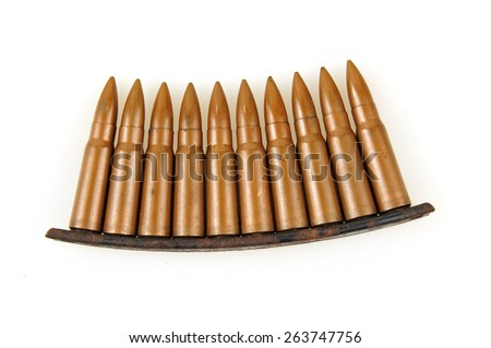 Rifle bullets on a white background