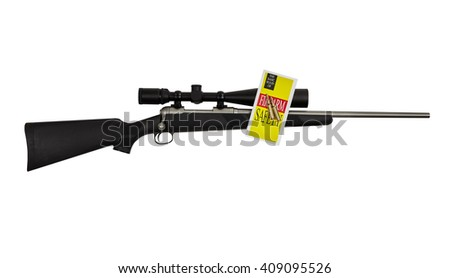 Rifle high power tactical sniper weapon with long range scope and safety brochure isolated on white