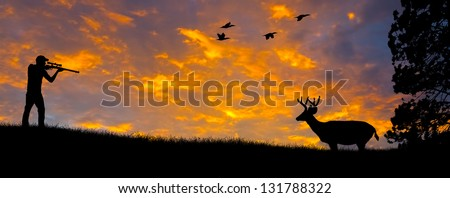 Rifle Hunting Silhouette - stock photo