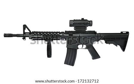 Rifle isolated isolated on white background, selective focus.  - stock photo