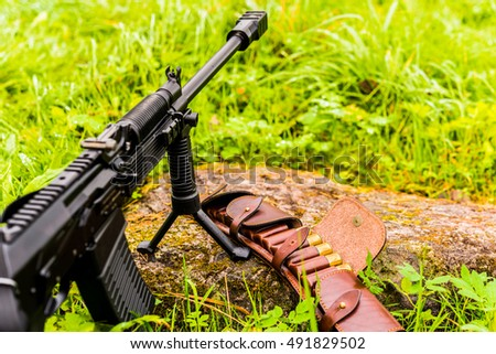 Rifle standing on a bipod with open leather bandolier with hunting ammunition on a rock in the grass after a rain. Close up view of a stone level