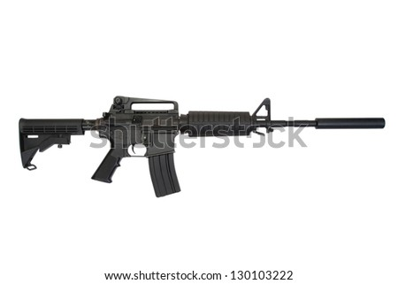 rifle with silencer isolated on a white background - stock photo