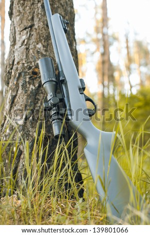 Rifle with telescopic sight in outdoor - stock photo