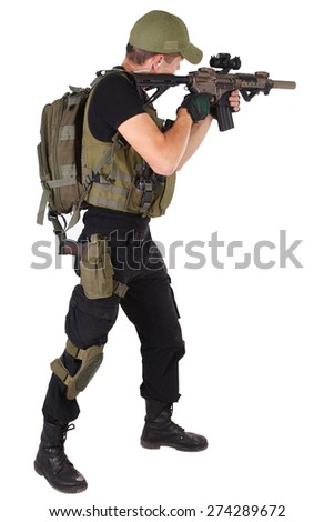 rifleman with M4 carbine isolated on white