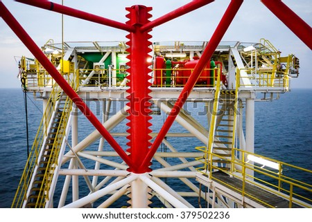Rig Leg and Helideck - stock photo