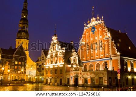 """Riga - capital of Latvia. Old city, """"Blackheads house"""" - stock photo"""