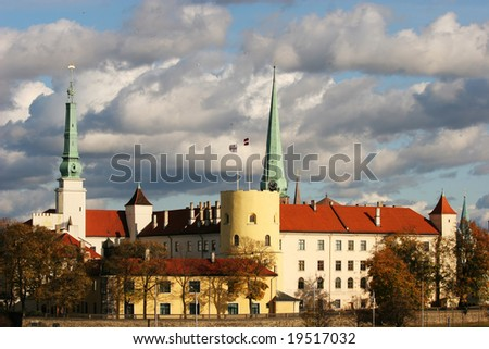 Riga castle. The castle is a residence for a president of Latvia (Old Town, Riga, Latvia) - stock photo