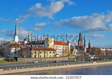 Riga Castle, the official residence of the President of Latvia. - stock photo