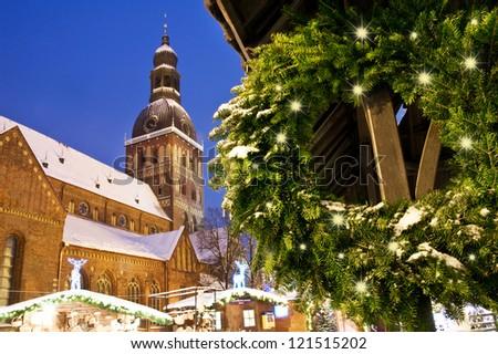 Riga Cathedral with Xmas decoration - stock photo