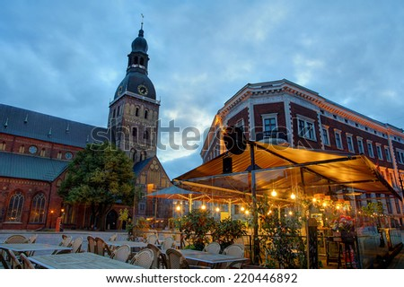 Riga Dome cathedral at night, Latvia - stock photo