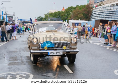 RIGA, LATVIA - AUGUST 16, 2014: Retro car parade during the Days fo Riga.