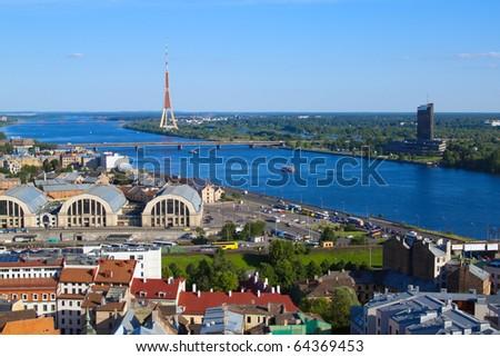 Riga, Latvia, cityscape from Saint Peters church - stock photo