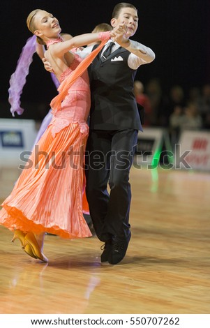 Riga, Latvia- December 16, 2016: Unidentified Dance Couple Performs Youth Standard European Program on the WDSF Baltic Grand Prix-2106 Championship in December 16, 2016 in Riga, Latvia.