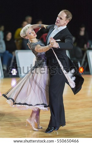 Riga, Latvia-December 17, 2016: Unidentified Professional Senior Dance couple Performs European Standard Program on the WDSF Baltic Grand Prix-2106 Championship in December 17, 2016 in Riga, Latvia.