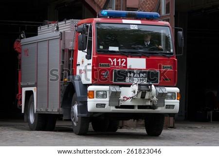 RIGA, LATVIA - MARCH 6, 2015: MAN based firetruck at the depot - stock photo