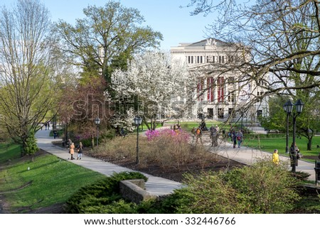 Riga, Latvia - May 3: Bastejkalns park in Riga, Latvia on May 3 2015. The park contains memorials to those who died there in Latvia's struggle for freedom in 1991 - stock photo