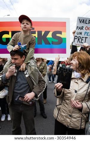 RIGA, LATVIA, MAY 16: Protesters against Baltic Gay Pride 2009 in Riga, Latvia on May 16, 2009 - stock photo