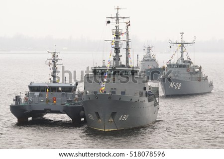 RIGA, LATVIA - November 18, 2016: NATO warships in the port of Riga. 18 November is the Independence Day of Latvia