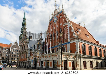RIGA, LATVIA - SEP 7, 2014:   building of the Brotherhood of Blackheads  in the Old Town of Riga. Riga's historical centre is a UNESCO World Heritage Site