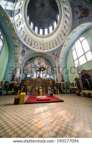 RIGA, LATVIA-SEPTEMBER 13: Inside of The Cathedral of the Holy Trinity. It is an Orthodox cathedral. Most visited and beloved by the people on september 13, 2013