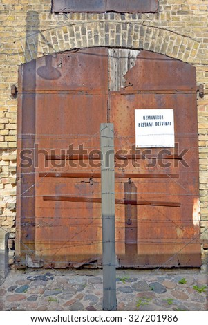 RIGA LAVTIA 09 17 2015: Iron door of Riga Ghetto was a area in Maskavas Forstate, Riga designated by the Nazis where Jews from Latvia, and later from Germany, were forced to live during WW II