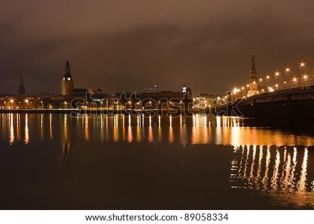 Riga old town in the night - stock photo