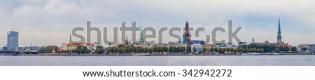 Riga old town skyline view over river Daugava - stock photo