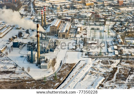 Riga power plant aerial view - stock photo