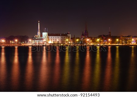 Riga presidential palace by night - stock photo