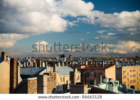 Riga rooftops - stock photo