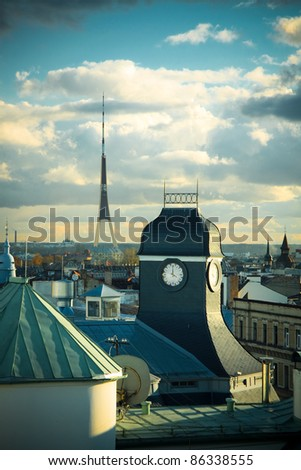 Riga rooftops, clock tower